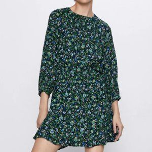ZARA Green & Blue Floral Dress